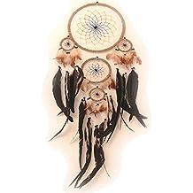Atrapasueños con plumas de verdad (Dreamcatcher) de color, diámetro: 22 cm, longitud: 70 cm