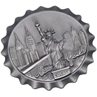 Bottle Cap Shaped New York Souvenir Metal Magnet NYC Skyline Statue of Liberty NY Empire State Building Chrysler Building Hudson River Metal Magnet by