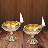 DreamKraft Brass Diwali Kuber Deepak On Stand (Diya Oil Lamp) For Puja Home Décor (Set of 2)