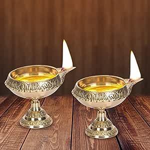 DreamKraft Brass Diwali Kuber Deepak On Stand (Diya Oil Lamp) For Puja Home Décor (Set of 2)