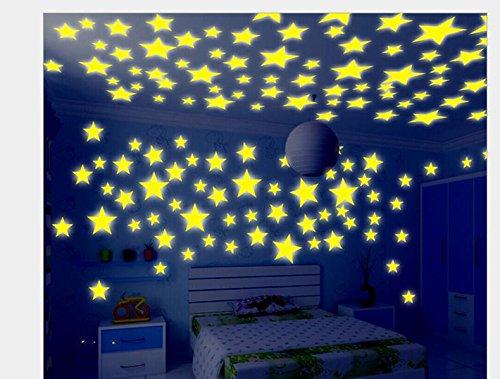 ZPL Stelle fosforescenti 3D parete Decorazioni camera bambini adesivi camera da letto in regali di Natale monocromatici o misti di scuola materna , 3.8cm color 100