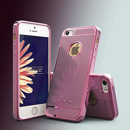 Urcover® Apple iPhone 5 / 5s / SE Back-Case Handy Schutz-Hülle Metall Optik Silikon in Rosa TPU Cover Smartphone Zubehör Tasche flexible Ultra Slim Handyhülle Rosa