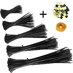 Profi Kabelbinder Set 100/150/200/250/300 mm (je 100 Stück) Und 20 Kabelbinderhalter, kabelbinder schwarz, UV Beständig, Hitzebeständig