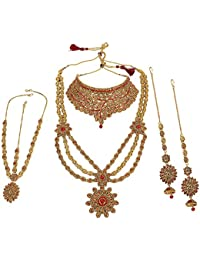 Muchmore Beautiful Combination Of Red And Golden Alloy Bridal Neclace Set Women