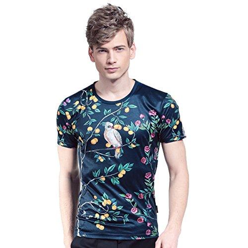 FANZHUAN Uomo Estate Nuovo Arrivo T-Shirt Maglietta Maniche Corte Stampa Fiore Uccello Slim Elastica