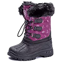 UBFEN Kids Winter Boots Boys Girls Snow Boots Breathable Kids Walking Boots Fur Lined Boots Little Kid 12 UK B Purple