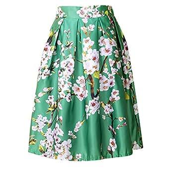 Damen Knielang Rock Sommer Blumen A-Linie Hohe Taille Faltenrock Röcke
