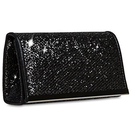 CASPAR TA344 Damen kleine elegante Glitzer Clutch Tasche / Abendtasche mit Metallspange Schwarz