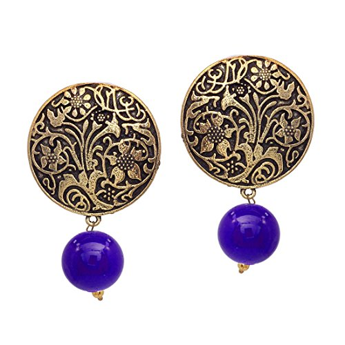 V L IMPEX Gold Plated Handmade Art Work Coin Style Stud With...