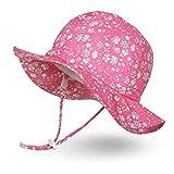 Ami&Li tots Mädchen Sonnenhut Verstellbarer Hut mit breiter Krempe Sonnenschutz UPF 50 für Baby Mädchen Jungen Säugling Kind Kleinkind Unisex - M: Rosa Fleurette