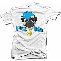 Pug Life blanco hombres de la T (6.1oz)