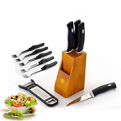 BMS Pro Stainless Steel Knife Sets With Wooden Stand/Block , 10-Pieces, Black  available at amazon for Rs.399