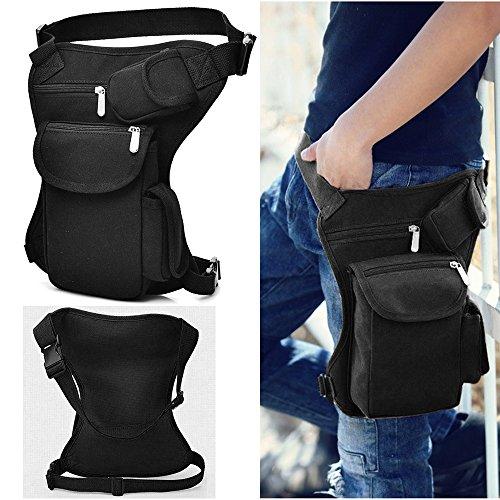 Bolsa de pierna deportiva de tela negra para senderismo, ciclismo y vacaciones