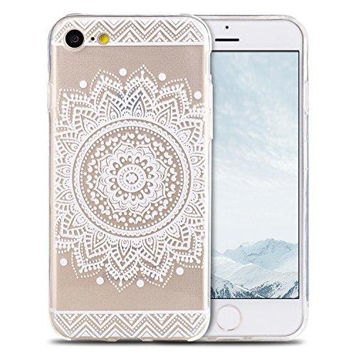 Coque iPhone 7 , Coque iPhone 8 Etui Silicone Transparent Doux TPU Housse Cas Souple Flexible Ultra Mince Csae Cover Soft Gel Nior Mandala Motif Dessin Mode E-Lush Enveloppe Coque Pour Apple iPhone 7  Blanc