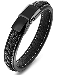 Moneekar Jewels Black Braided Leather Bracelet Stainless Steel Black Magnetic Clasp for Mens & Boys