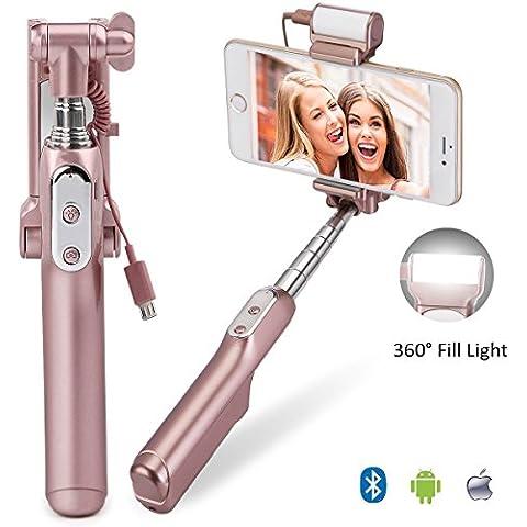 Bluetooth Selfie Stick con 360gradi LED luce di riempimento, allungabile