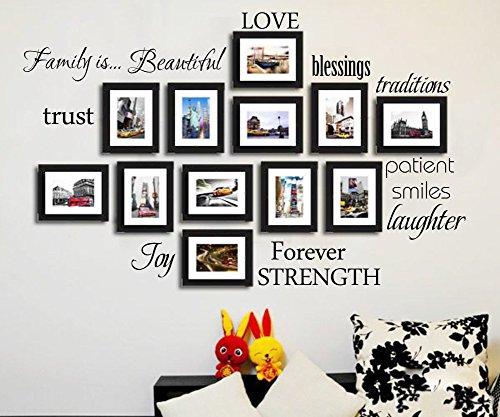 Famiglia Cornice portafoto da parete in vinile Arte DIY Citazioni dicendo Decoation per cornici