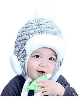 Ababalaya Unisex Baby Strickmütze Baby Mädchen Wintermütze Pelzkugel Gestrickt Wolle Winter Warme Baby Strickmütze...