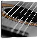 verziertes Schallloch einer Westerngitarre schwarz/weiß, Format: 70x70 auf Leinwand, XXL riesige Bilder fertig gerahmt mit Keilrahmen, Kunstdruck auf Wandbild mit Rahmen, günstiger als Gemälde oder Ölbild, kein Poster oder Plakat