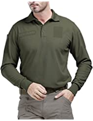 Free soldier Hombre exterior transpirable camiseta Long Sleeve Quick Dry Polo – Camiseta, primavera/verano, color verde, tamaño xx-large