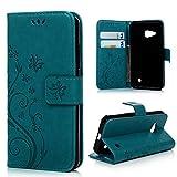 MAXFE.CO Lederhülle Leder Tasche Case Cover für Microsoft Lumia 550 / Nokia N550 Hülle PU Schutz Etui Schale Blau Backcover Flip Cover Wallet mit Standfunktion Karteneinschub Etui