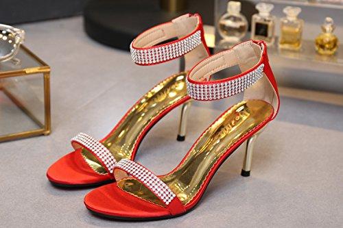 SEXYHER Mode 2.8IN Talons Bureau De Sandales Femmes Chaussures Rouge
