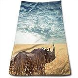 WBinHua Biancheria da Bagno, Beach Towel, Hand Towels, Rhino Rhinoceros Sun Shining Bath Towels for Bathroom-Hotel-Spa-Kitchen-Set - Circlet Egyptian Cotton - Highly Absorbent Hotel Quality Towels