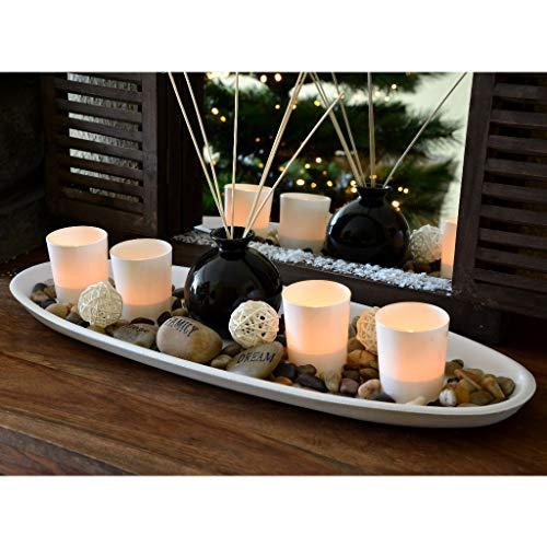 XL Teelichthalter-Set 51cm auf Echtholztableau inkl. Raumduft-Potpourri Deko Kerzenhalter Windlicht Herbstdeko Glas
