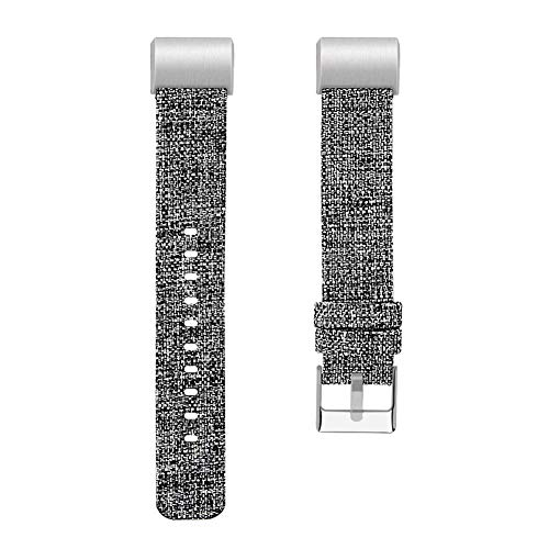 Rejoicing Smart Watch Band Sport Watch Straps Nylon Canvas Woven Fabric Smart Watch Straps for Fitbit Charge 2, dunkelgrau, Large -