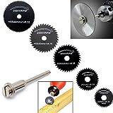 Origlam 5 hojas de sierra circular, discos de corte, mandril para herramientas rotativas, Kit de herramientas de corte de metal, discos de corte de madera (6 piezas)
