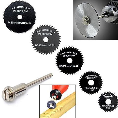 Origlam Lot de 6lames de scie HSS Lame de scie circulaire, disques à tronçonner pour mandrin Outil rotatif pour Dremel en métal Cutter Power Tool Kit Disques de coupe de bois Foret pour mandrin