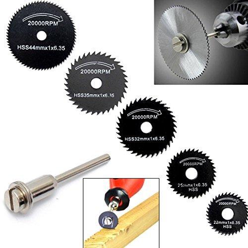 origlam 6pcs HSS Sägeblätter Kreissägeblatt, Trennscheiben Dorn Rotary Werkzeug für Dremel Metall Cutter Power Tool Kit Holz Trennscheiben HSS-Dorn