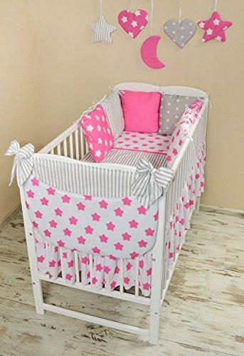 Amilian® Baby Bettwäsche Design108 Nestchen Bettset 100x135 für Babybett Decke Kissen Bettumrandung