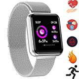 Bluetooth Smartwatch, Fitness Uhr Intelligente Armbanduhr Fitness Tracker Smart Watch Sport Uhr mit Kamera Schrittzähler Schlaftracker Romte Capture Kompatibel mit Android Smartphone (P68 Silber)