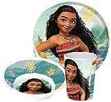 Disney Vaiana Moana - Set di stoviglie per Bambini, con Piatto, Ciotola e Bicchiere in melamina