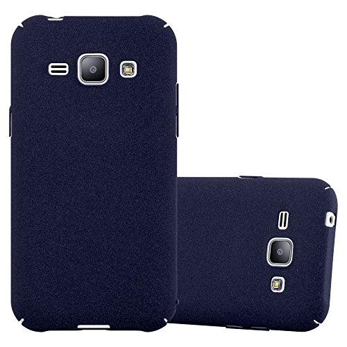 Preisvergleich Produktbild Cadorabo Hülle für Samsung Galaxy J1 2015 (5) - Hülle in Frosty BLAU – Hardcase Handyhülle im matten Frosty Design - Schutzhülle Bumper Back Case Cover