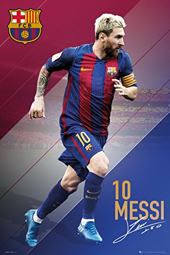 Póster FC Barcelona – Lionel Messi n° 10 (61cm x 91,5cm) + embalaje para regalo