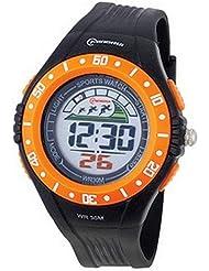 Montre digital Homme - bracelet Plastique Noir - Cadran Rond Fond Noir et orange - Marque Mingrui - MR8008
