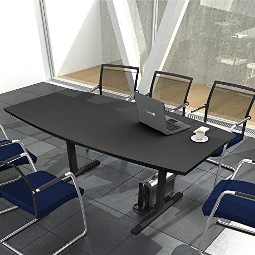 Weber Büro Easy Konferenztisch Bootsform 200x100 cm Anthrazit Besprechungstisch Tisch,...