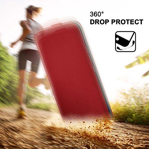 iPhone 5S Hülle Dunkel-Rot [OneFlow 360° Klapp-Hülle] Etui thin Handytasche Dünn Handyhülle für iPhone 5/5S/SE Case Flip Cover Schutzhülle Kunst-Leder Tasche BLAZING-RED