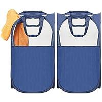 Umi. Bolsa de cestas de ropa pop-up con 2 asas cada una, plegable, azul, juego de 2