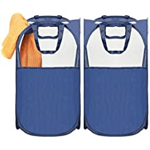 Umi. by Amazon - Cestos para la colada plegables, clasificador de ropa sucia, juego de 2 cestas para laundry pop-up con 2 asas, azul