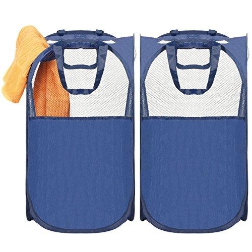 Amazon Marka: Umi. Essentials Cestos para la Colada Cestas de Ropa Sucia Pop-up con 2 Asas, Plegable, Azul, Juego de 2