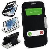 Bolso OneFlow para funda Samsung Galaxy S Duos / S Duos 2 / Trend / Trend Plus Cubierta con ventana | Estuche Flip Case Funda móvil plegable | Bolso móvil funda protectora accesorios móvil protección paragolpes en DEEP-BLACK