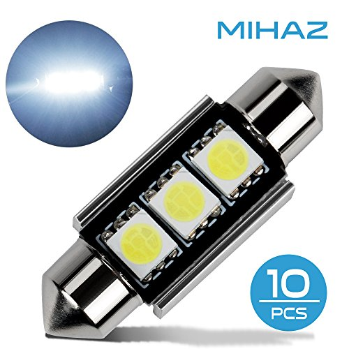 Mihaz 10x 39mm CAN-Bus senza errori del festone 3SMD W5W C5W 5050 LED SMD lampadine per luci interne auto o targa a LED Bulbi (10 * 39mm 3SMD)