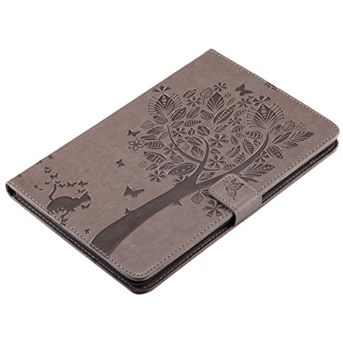 Custodia iPad Mini 2, iPad Mini 3 Flip Case Leather, SainCat Custodia in Pelle Cover per iPad Mini 1/2/3, Anti-Scratch Book Style Protettiva Caso PU Leather Flip Portafoglio Custodia Libro Protettiva  Grigio