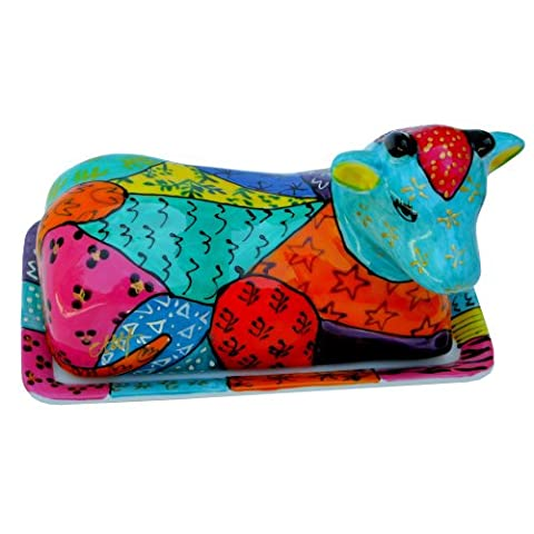 Cow Butter Dish of painted porcelain 'Africa' limited edition design of Caroline Hely Hutchinson. Luxury Gift Box for joyful and original Wedding, Birthday or Housewarming gifts