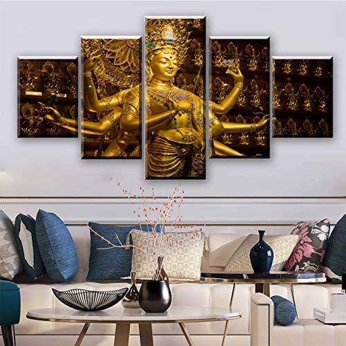 lglays Bild auf Leinwand Wandkunst Bilder Leinwand HD Gedruckt Modern Home Dekorative Zeichnen 5 Stück Religiöse Hinduismus Poster Malerei Rahmen-10x15cm/20cm/25cm