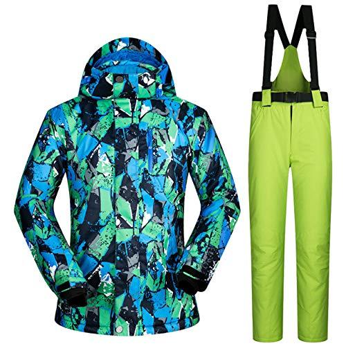 ZYJANO Skianzug Ski Jacket and Pant Men Winter Warm Skiing and Snowboarding Suits Jacket Pants Windproof Waterproof Wear Men Ski Suit,PT1Green,XXL