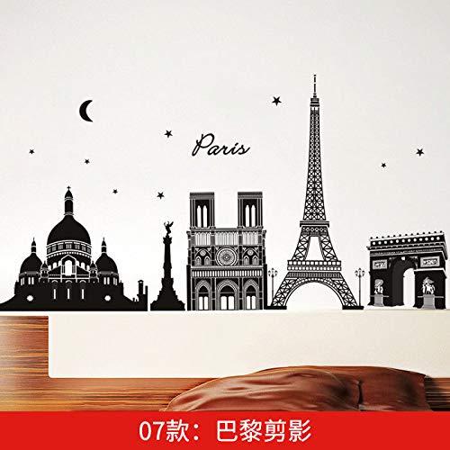 Die Welt Gebäude Schwarz Wandhalterung Wandwände, Paris Trivia Kann Kunst Wandbilder Für Schlafzimmer Wohnzimmer Büro Familie Kindergarten Badezimmer Küche ()